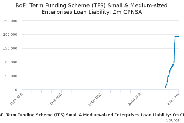 BoE: Term Funding Scheme (TFS) Small & Medium-sized Enterprises Loan Liability: £m CPNSA