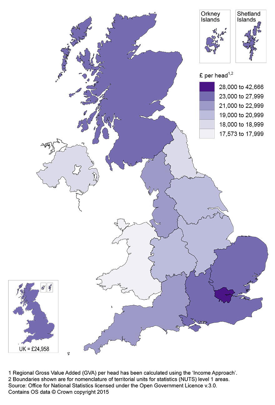 Map 1: Regional GVA per head by NUTS 1 area, United Kingdom, 2014