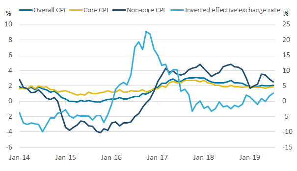 Non-core CPI follows the exchange rate more closely than HICP.