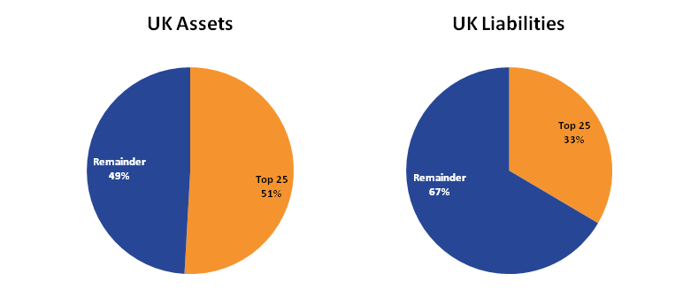 The largest 25 multinationals accounted for 51% of FDI assets in 2015, compared to 33% on liabilities.