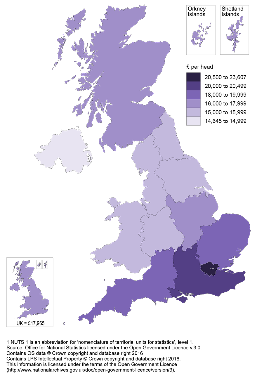 GDHI per head in 2014 was highest in London and lowest in Northern Ireland.