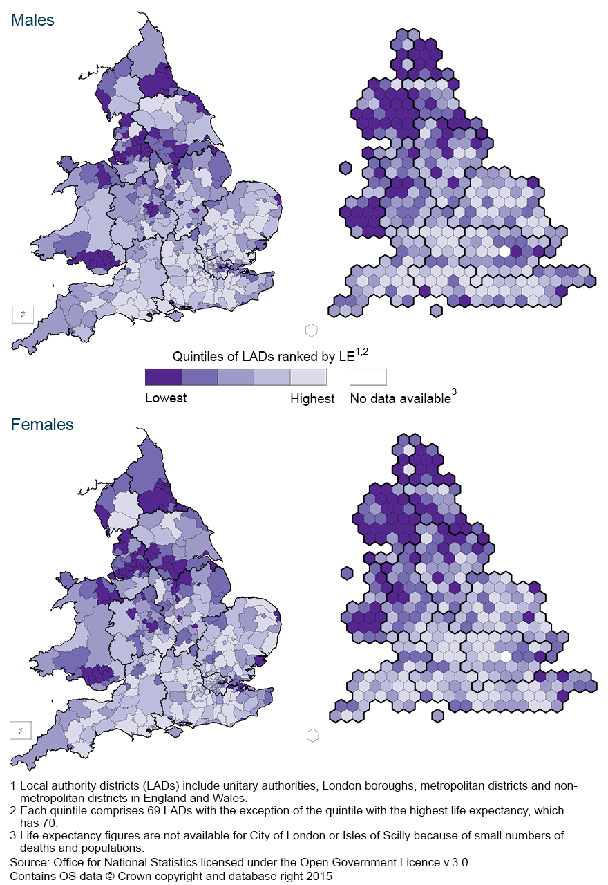Map 1: Life expectancy at birth by sex and local authority district