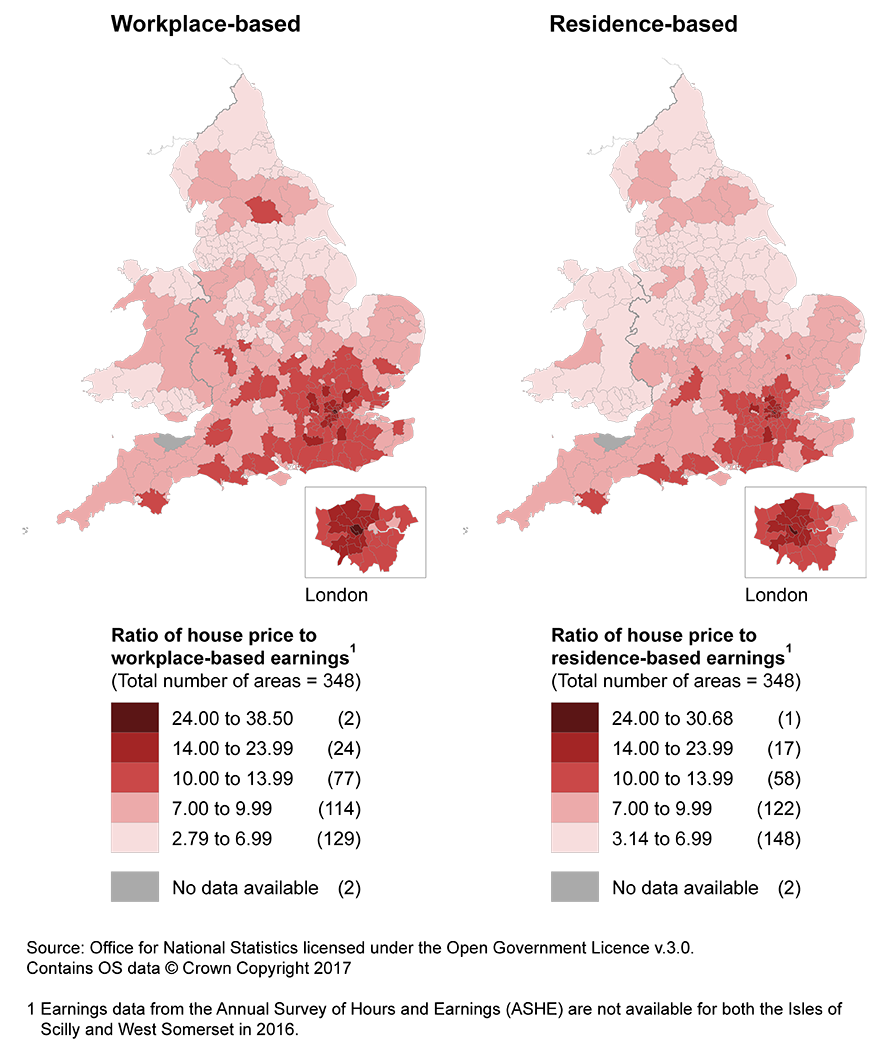 Surrounding areas of London are less affordable on the workplace earnings basis.