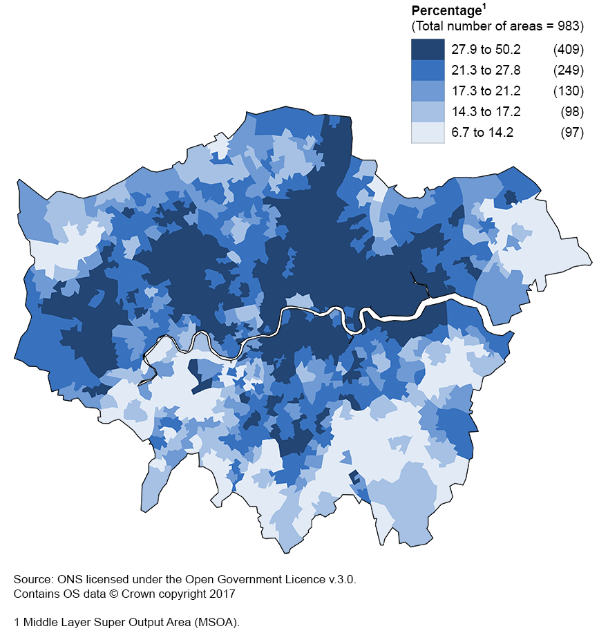London contains MSOAs with the most variable percentage of households in poverty after housing costs
