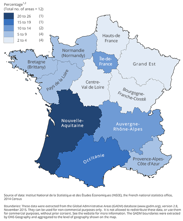 The southern and western regions are generally the most popular areas of France for British people to live.