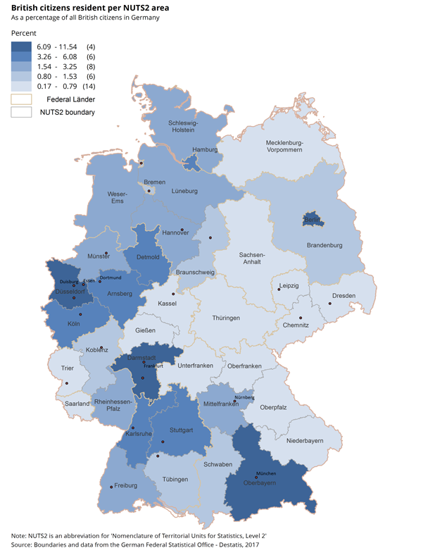 British citizens living in Germany are most often situated in Berlin, Oberbayern and Darmstadt.