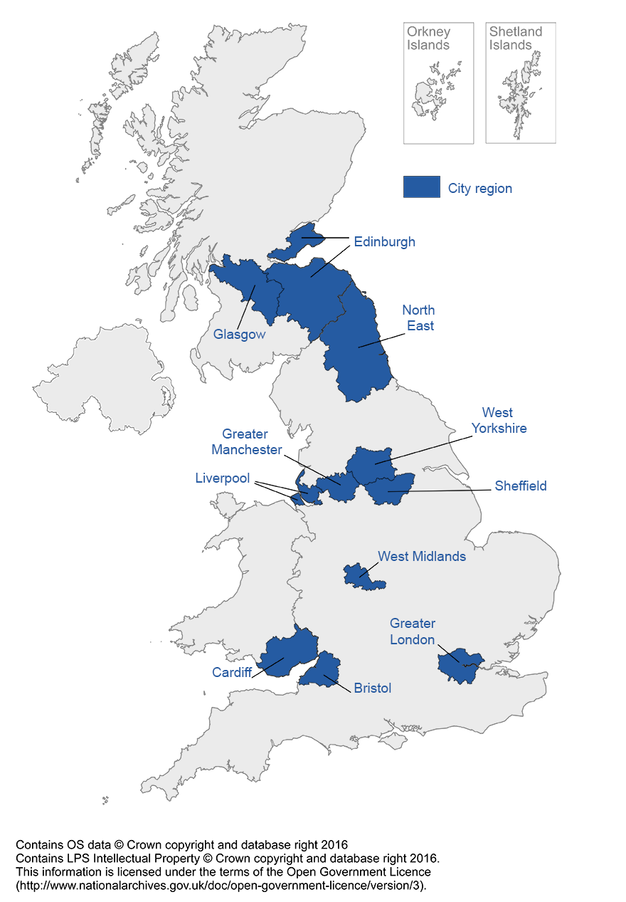 Map of UK showing the city regions in this article.