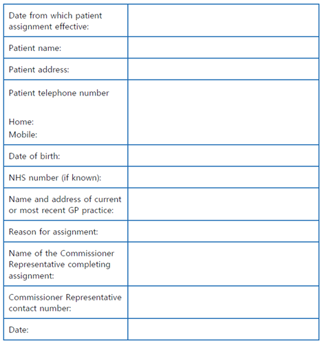 Patient details being provided to GP practice.